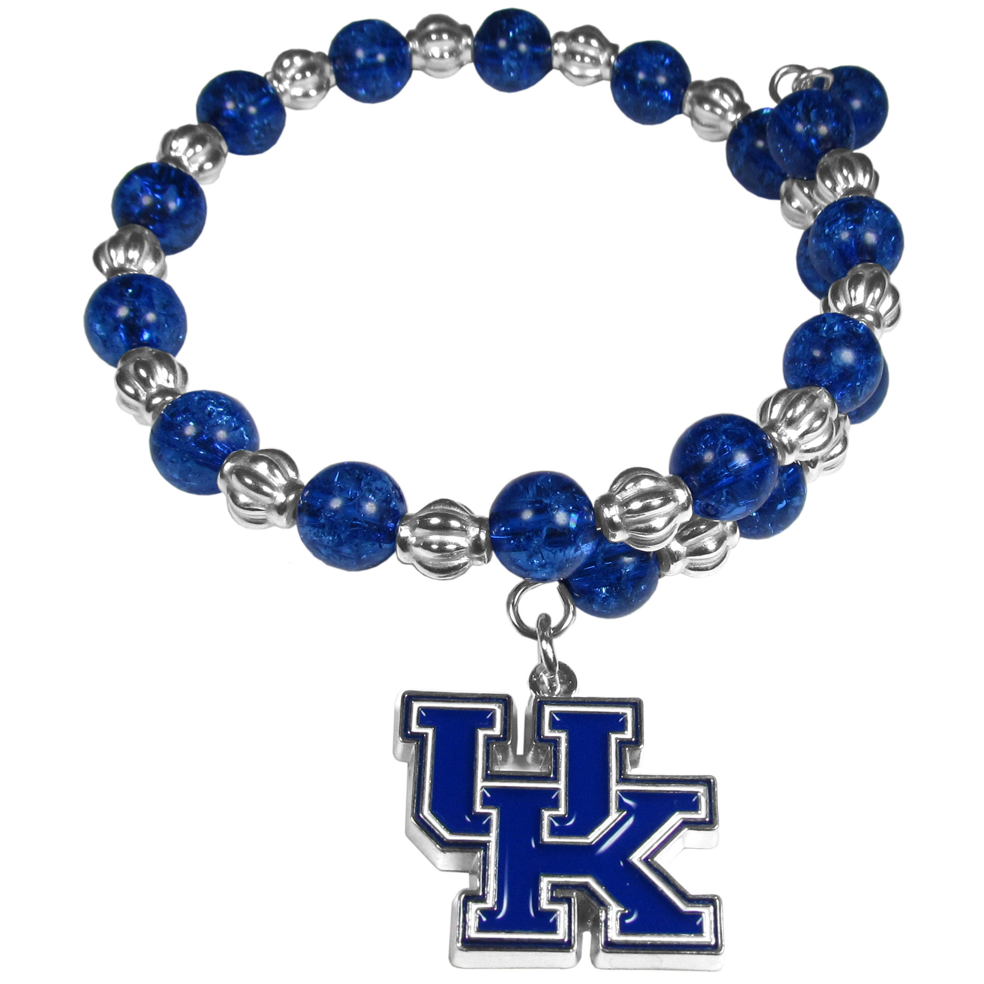 Kentucky Wildcats Bead Memory Wire Bracelet - Our Kentucky Wildcats memory wire bead bracelet is trendy way to show off your love of the game. The double wrap bracelet is completely covered in 7.5 mm crystals that are broken up with silvertoned beads creating a designer look with a sporty twist. The bracelet features a fully cast, metal team charm that has expertly enameled team colors. This fashion jewelry piece is a must-have for the die-hard fan that chic look that can dress up any outfit.