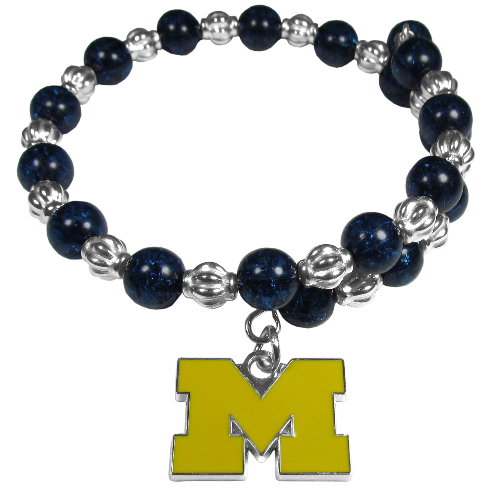 Michigan Wolverines Bead Memory Wire Bracelet - Our Michigan Wolverines memory wire bead bracelet is trendy way to show off your love of the game. The double wrap bracelet is completely covered in 7.5 mm crystals that are broken up with silvertoned beads creating a designer look with a sporty twist. The bracelet features a fully cast, metal team charm that has expertly enameled team colors. This fashion jewelry piece is a must-have for the die-hard fan that chic look that can dress up any outfit.