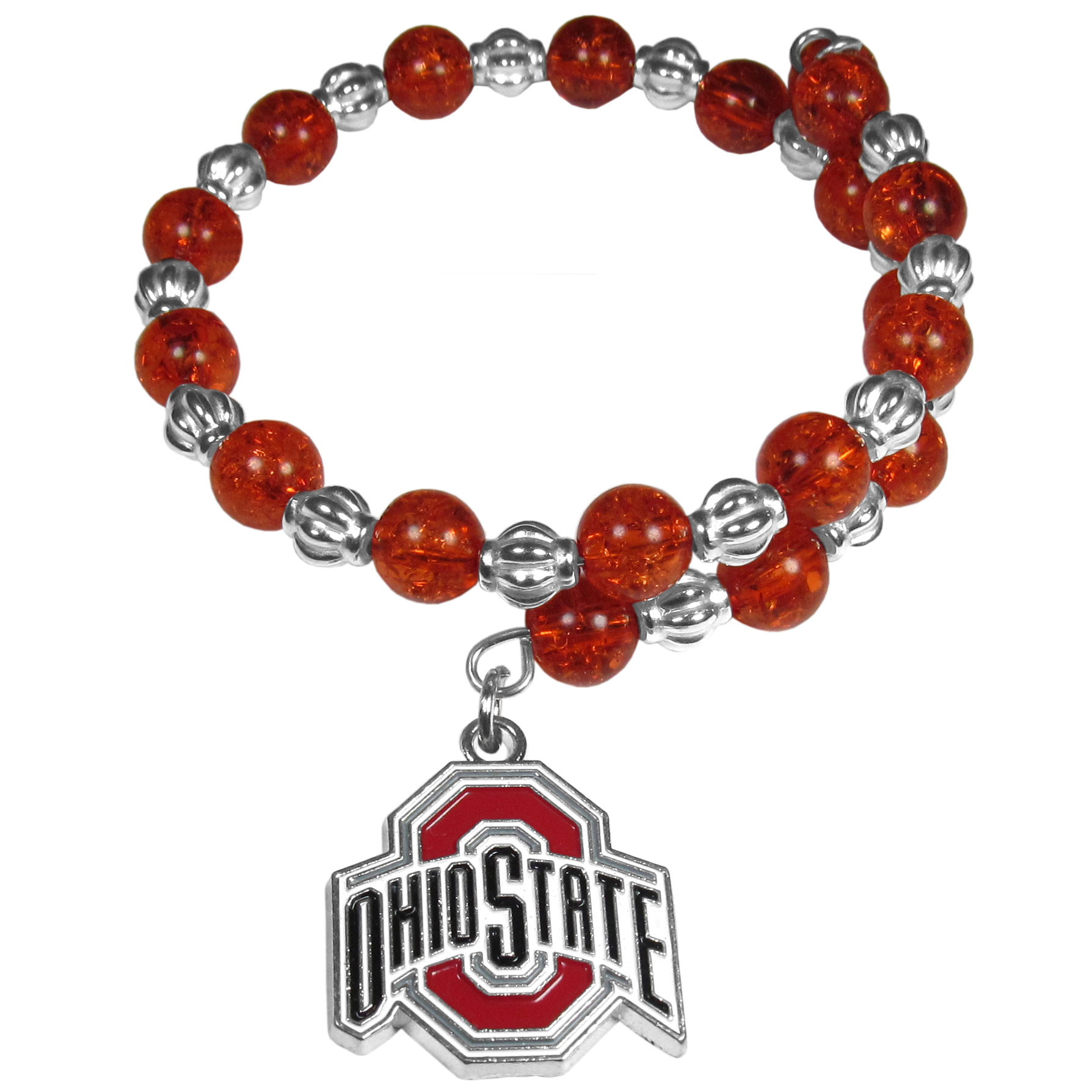 Ohio St. Buckeyes Bead Memory Wire Bracelet - Our Ohio St. Buckeyes memory wire bead bracelet is trendy way to show off your love of the game. The double wrap bracelet is completely covered in 7.5 mm crystals that are broken up with silvertoned beads creating a designer look with a sporty twist. The bracelet features a fully cast, metal team charm that has expertly enameled team colors. This fashion jewelry piece is a must-have for the die-hard fan that chic look that can dress up any outfit.