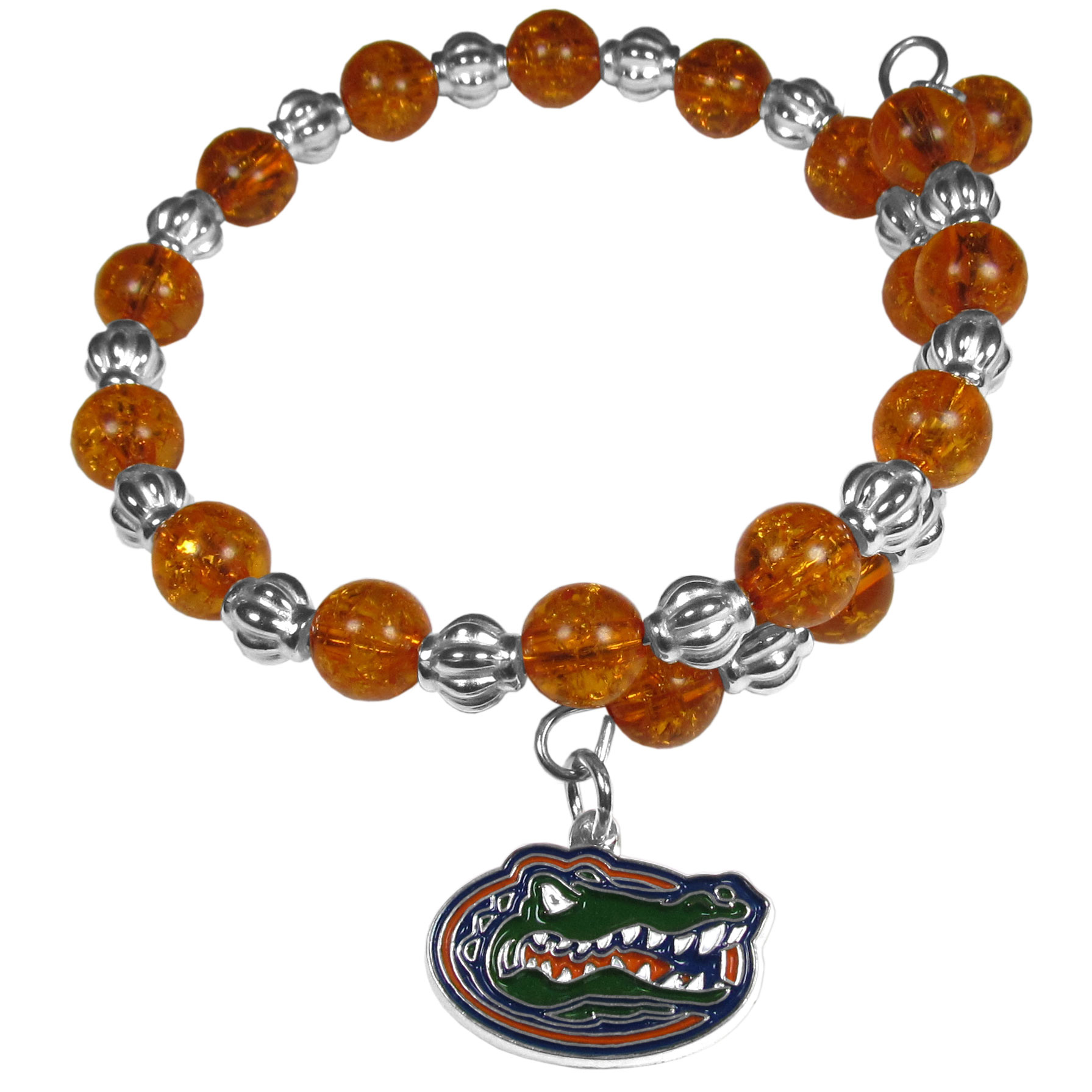 Florida Gators Bead Memory Wire Bracelet - Our Florida Gators memory wire bead bracelet is trendy way to show off your love of the game. The double wrap bracelet is completely covered in 7.5 mm crystals that are broken up with silvertoned beads creating a designer look with a sporty twist. The bracelet features a fully cast, metal team charm that has expertly enameled team colors. This fashion jewelry piece is a must-have for the die-hard fan that chic look that can dress up any outfit.