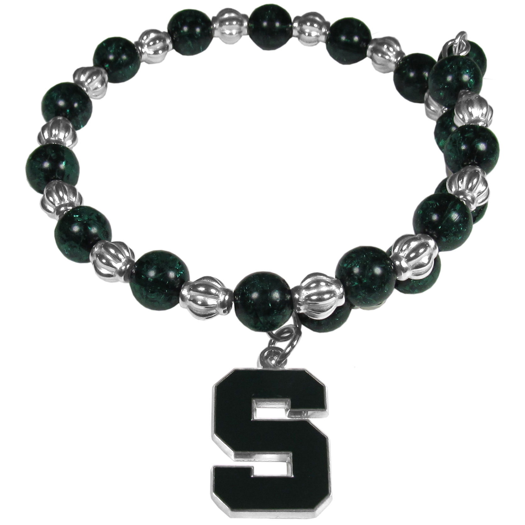 Michigan St. Spartans Bead Memory Wire Bracelet - Our Michigan St. Spartans memory wire bead bracelet is trendy way to show off your love of the game. The double wrap bracelet is completely covered in 7.5 mm crystals that are broken up with silvertoned beads creating a designer look with a sporty twist. The bracelet features a fully cast, metal team charm that has expertly enameled team colors. This fashion jewelry piece is a must-have for the die-hard fan that chic look that can dress up any outfit.