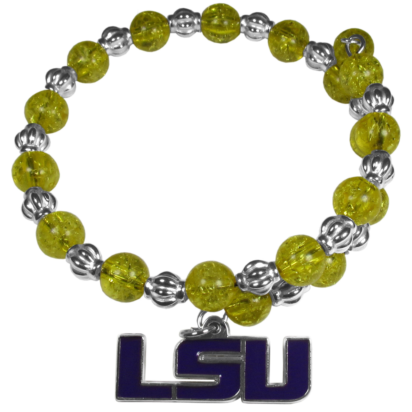 LSU Tigers Bead Memory Wire Bracelet - Our LSU Tigers memory wire bead bracelet is trendy way to show off your love of the game. The double wrap bracelet is completely covered in 7.5 mm crystals that are broken up with silvertoned beads creating a designer look with a sporty twist. The bracelet features a fully cast, metal team charm that has expertly enameled team colors. This fashion jewelry piece is a must-have for the die-hard fan that chic look that can dress up any outfit.