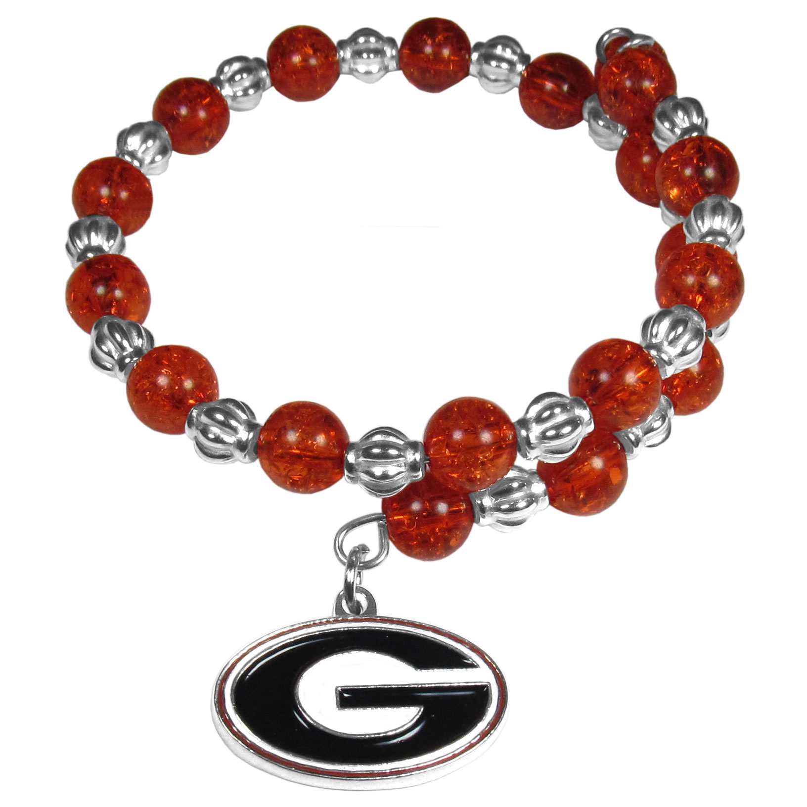 Georgia Bulldogs Bead Memory Wire Bracelet - Our Georgia Bulldogs memory wire bead bracelet is trendy way to show off your love of the game. The double wrap bracelet is completely covered in 7.5 mm crystals that are broken up with silvertoned beads creating a designer look with a sporty twist. The bracelet features a fully cast, metal team charm that has expertly enameled team colors. This fashion jewelry piece is a must-have for the die-hard fan that chic look that can dress up any outfit.