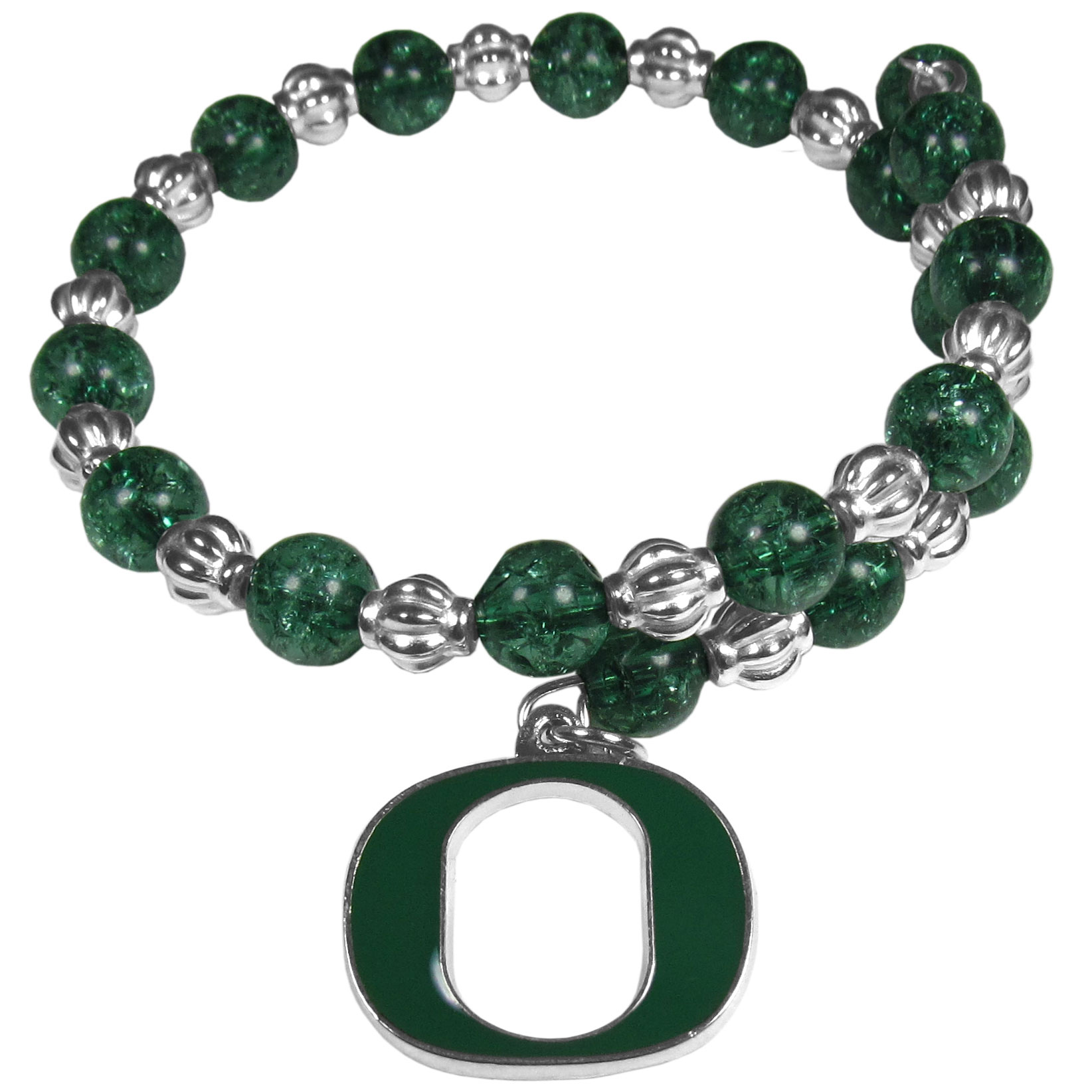Oregon Ducks Bead Memory Wire Bracelet - Our Oregon Ducks memory wire bead bracelet is trendy way to show off your love of the game. The double wrap bracelet is completely covered in 7.5 mm crystals that are broken up with silvertoned beads creating a designer look with a sporty twist. The bracelet features a fully cast, metal team charm that has expertly enameled team colors. This fashion jewelry piece is a must-have for the die-hard fan that chic look that can dress up any outfit.