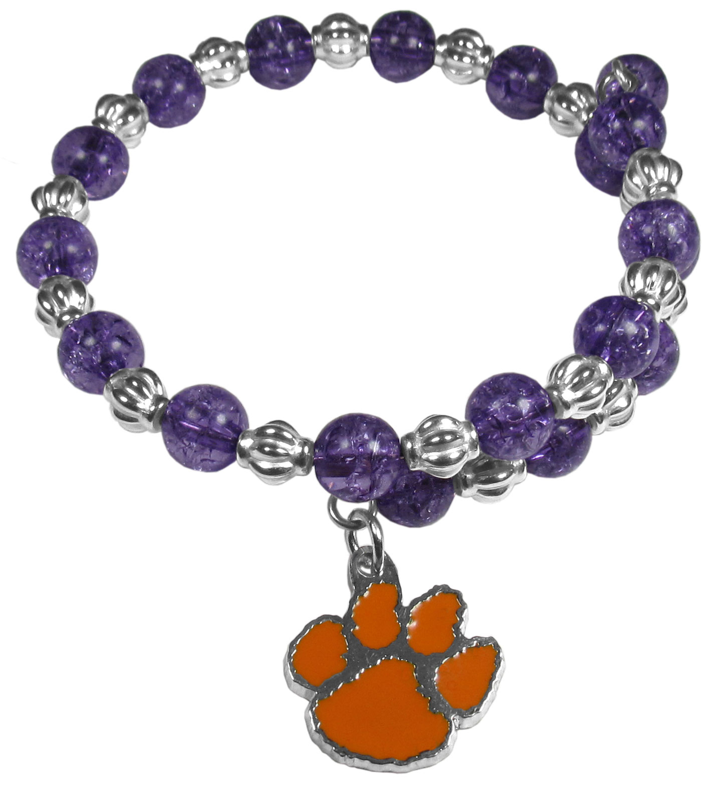 Clemson Tigers Bead Memory Wire Bracelet - Our Clemson Tigers memory wire bead bracelet is trendy way to show off your love of the game. The double wrap bracelet is completely covered in 7.5 mm crystals that are broken up with silvertoned beads creating a designer look with a sporty twist. The bracelet features a fully cast, metal team charm that has expertly enameled team colors. This fashion jewelry piece is a must-have for the die-hard fan that chic look that can dress up any outfit.