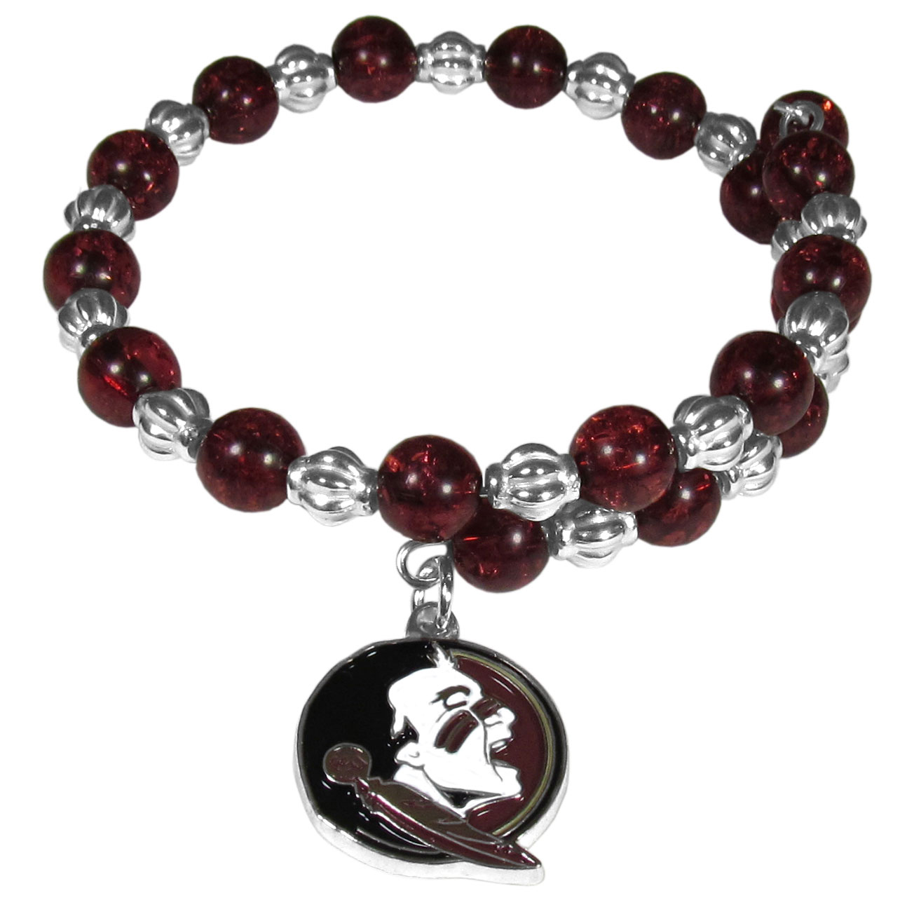 Florida St. Seminoles Bead Memory Wire Bracelet - Our Florida St. Seminoles memory wire bead bracelet is trendy way to show off your love of the game. The double wrap bracelet is completely covered in 7.5 mm crystals that are broken up with silvertoned beads creating a designer look with a sporty twist. The bracelet features a fully cast, metal team charm that has expertly enameled team colors. This fashion jewelry piece is a must-have for the die-hard fan that chic look that can dress up any outfit.
