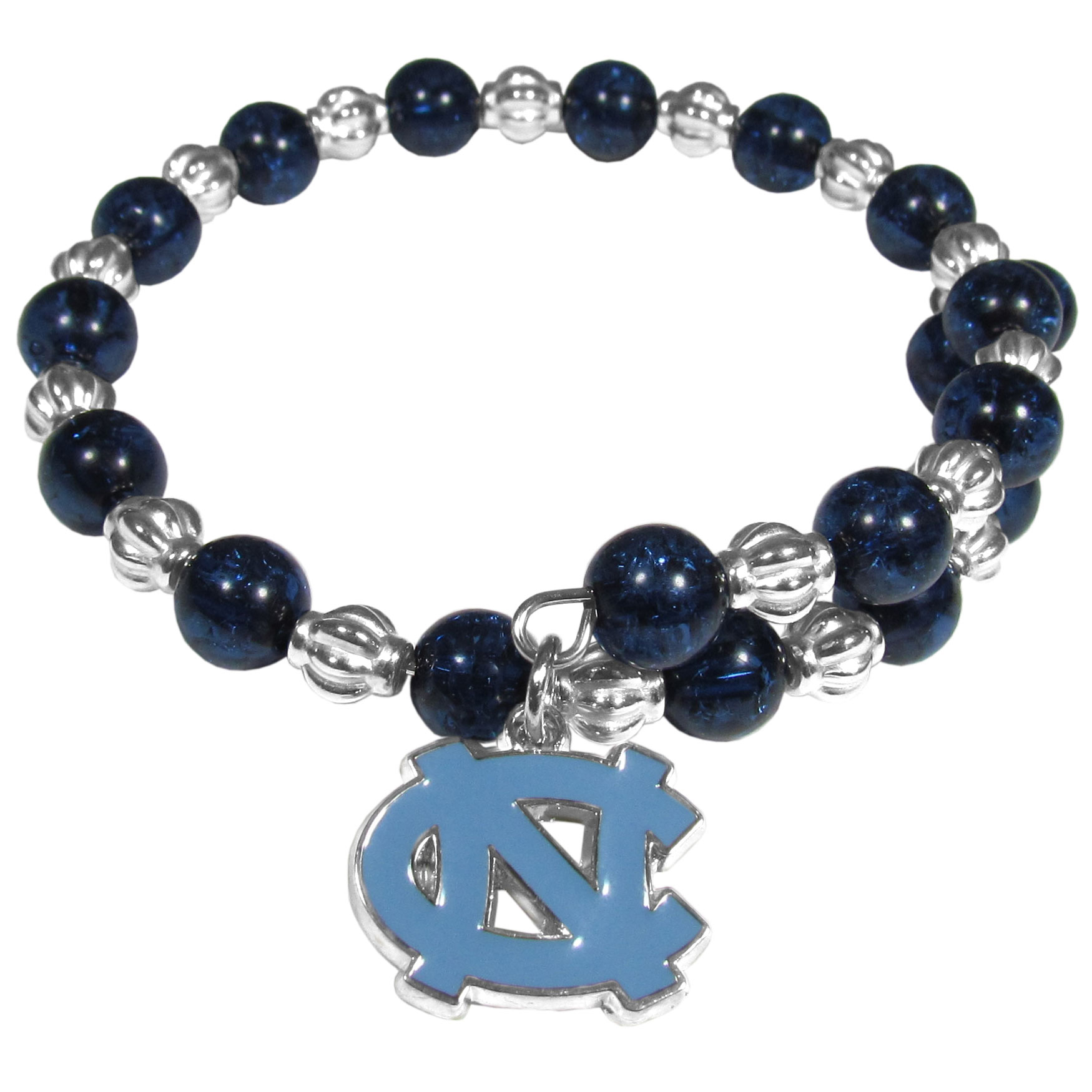 N. Carolina Tar Heels Bead Memory Wire Bracelet - Our N. Carolina Tar Heels memory wire bead bracelet is trendy way to show off your love of the game. The double wrap bracelet is completely covered in 7.5 mm crystals that are broken up with silvertoned beads creating a designer look with a sporty twist. The bracelet features a fully cast, metal team charm that has expertly enameled team colors. This fashion jewelry piece is a must-have for the die-hard fan that chic look that can dress up any outfit.