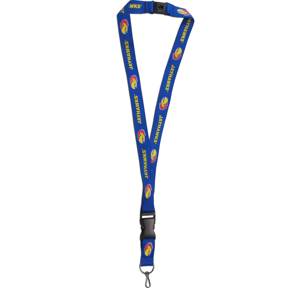Kansas Jayhawks Lanyard - Our Kansas Jayhawks lanyards are a great way to show off your school pride and keep track of your keys, ID's, badges and much more. The lanyards are made of a comfortable nylon with screen printed school logos. They feature safety closures that disconnect if the lanyard becomes caught on something.