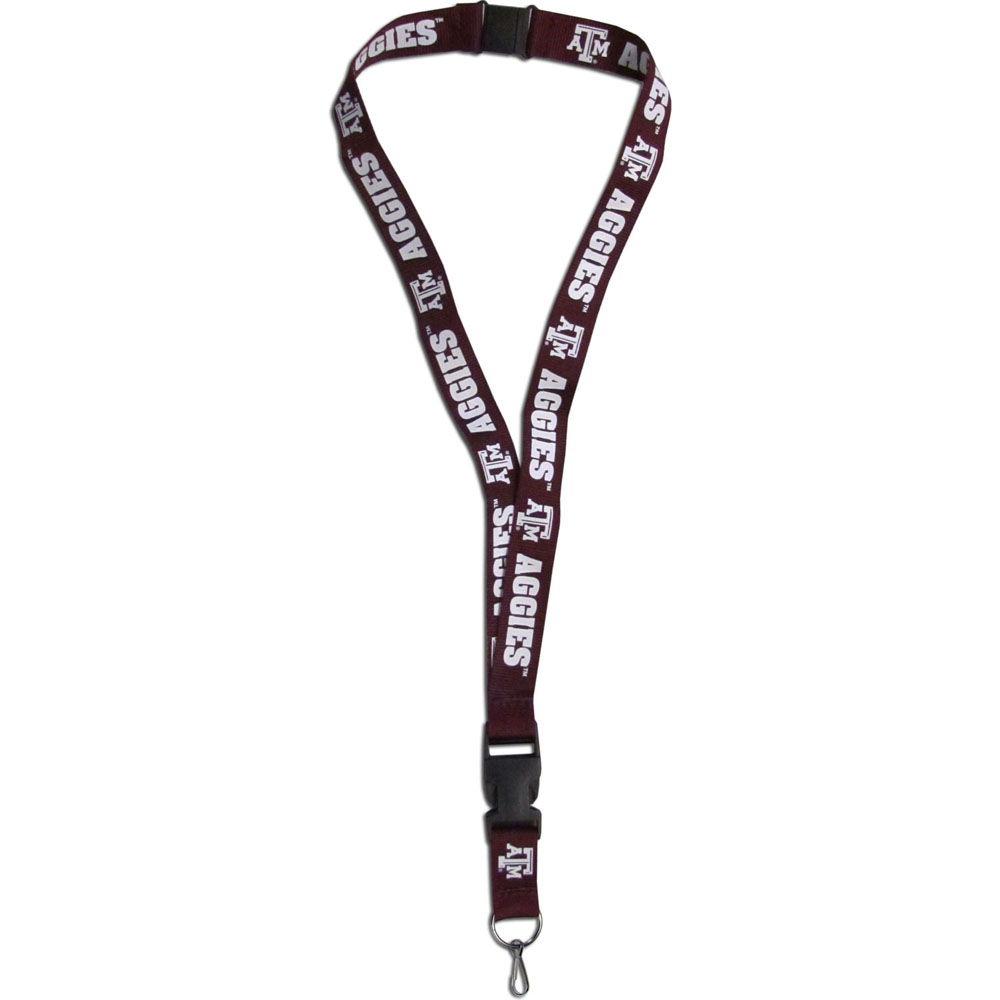 Texas A and M Aggies Lanyard - Our Texas A & M Aggies lanyards are a great way to show off your school pride and keep track of your keys, ID's, badges and much more. The lanyards are made of a comfortable nylon with screen printed school logos. They feature safety closures that disconnect if the lanyard becomes caught on something.