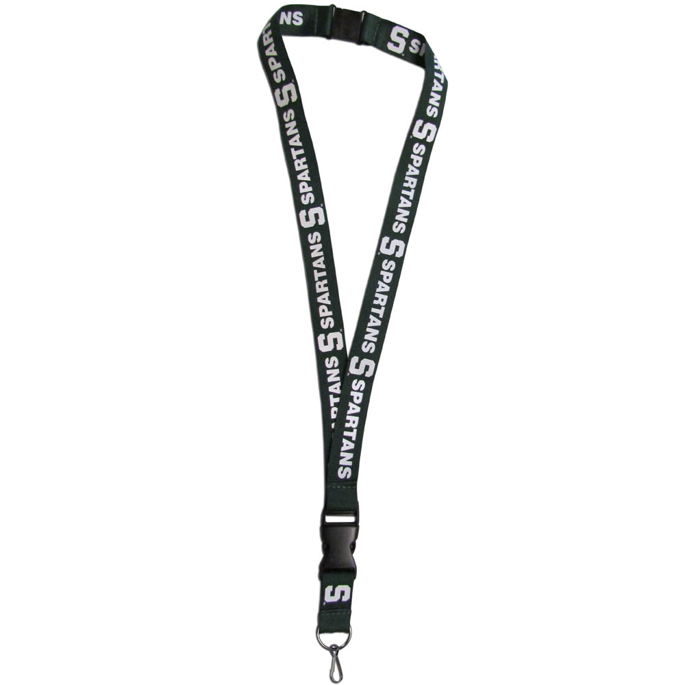 Michigan St. Spartans Lanyard - Our Michigan St. Spartans lanyards are a great way to show off your school pride and keep track of your keys, ID's, badges and much more. The lanyards are made of a comfortable nylon with screen printed school logos. They feature safety closures that disconnect if the lanyard becomes caught on something.