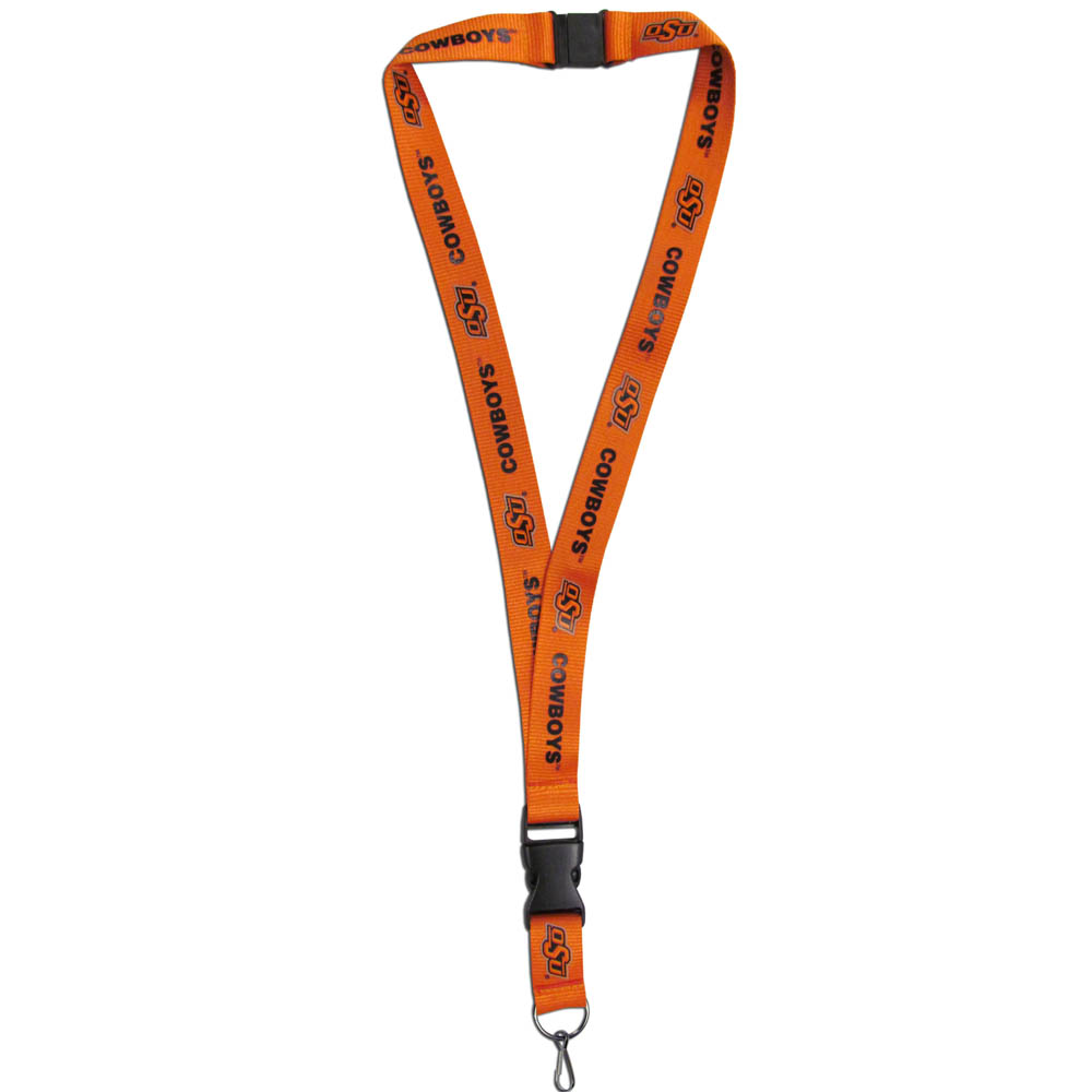 Oklahoma State Cowboys Lanyard - Our Oklahoma State Cowboys lanyards are a great way to show off your school pride and keep track of your keys, ID's, badges and much more. The lanyards are made of a comfortable nylon with screen printed school logos. They feature safety closures that disconnect if the lanyard becomes caught on something.