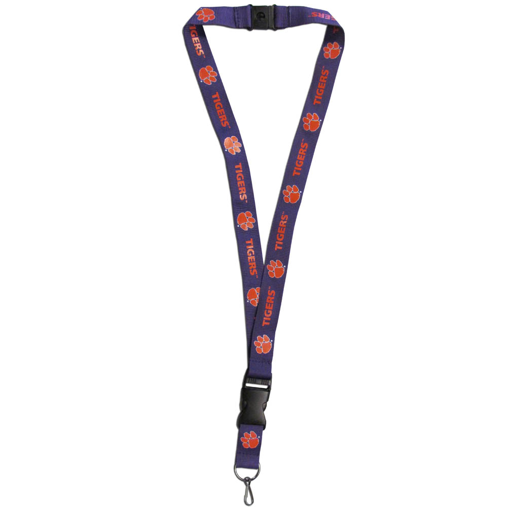 Clemson Tigers Lanyard - Our Clemson Tigers lanyards are a great way to show off your school pride and keep track of your keys, ID's, badges and much more. The lanyards are made of a comfortable nylon with screen printed school logos. They feature safety closures that disconnect if the lanyard becomes caught on something.