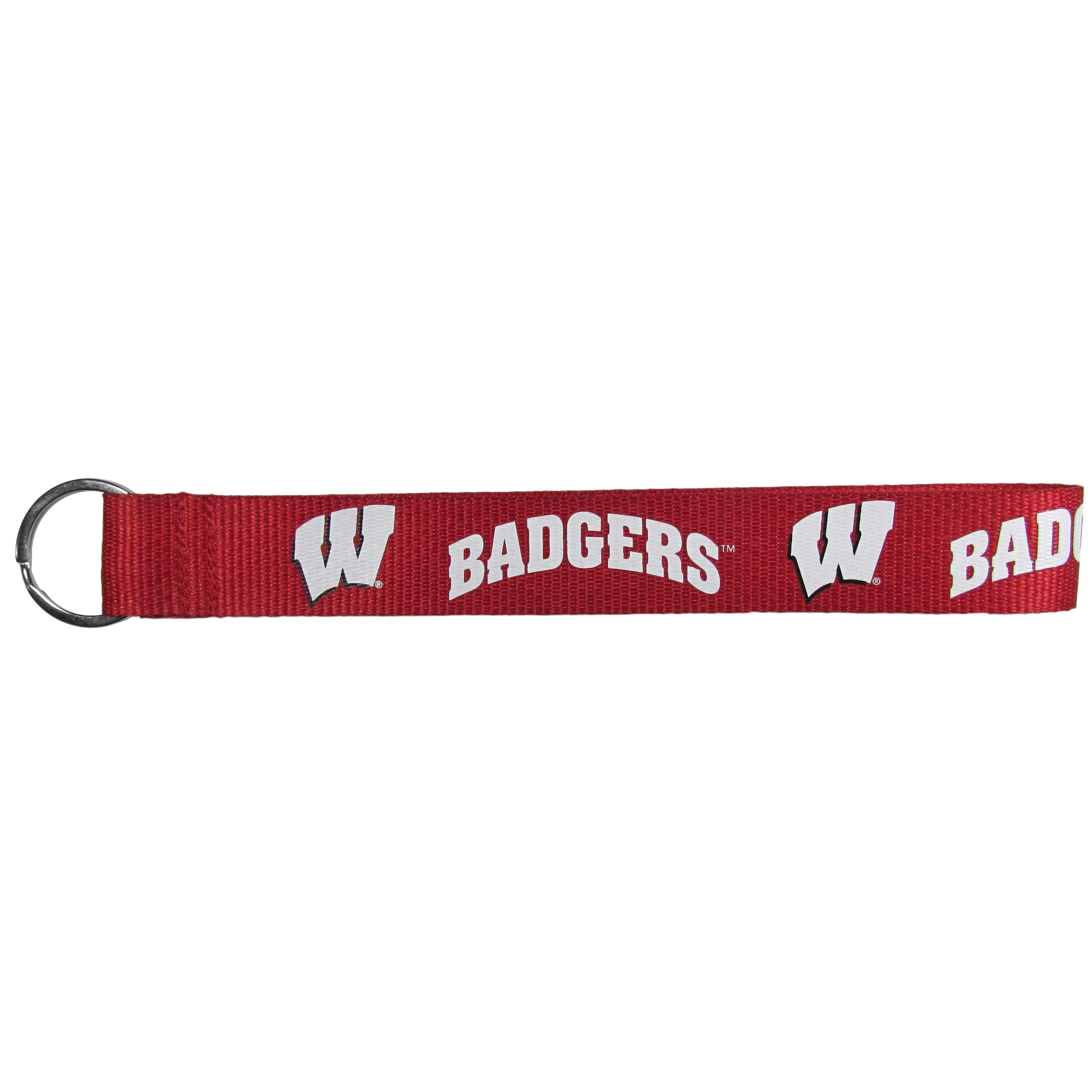 Wisconsin Badgers Lanyard Key Chain - Our wrist strap lanyard key chain is made of durable and comfortable woven material and is a not only a great key chain but an easy way to keep track of your keys. The bright Wisconsin Badgers graffics makes this key chain easy to find in gym bags, purses and in the dreaded couch cushions.