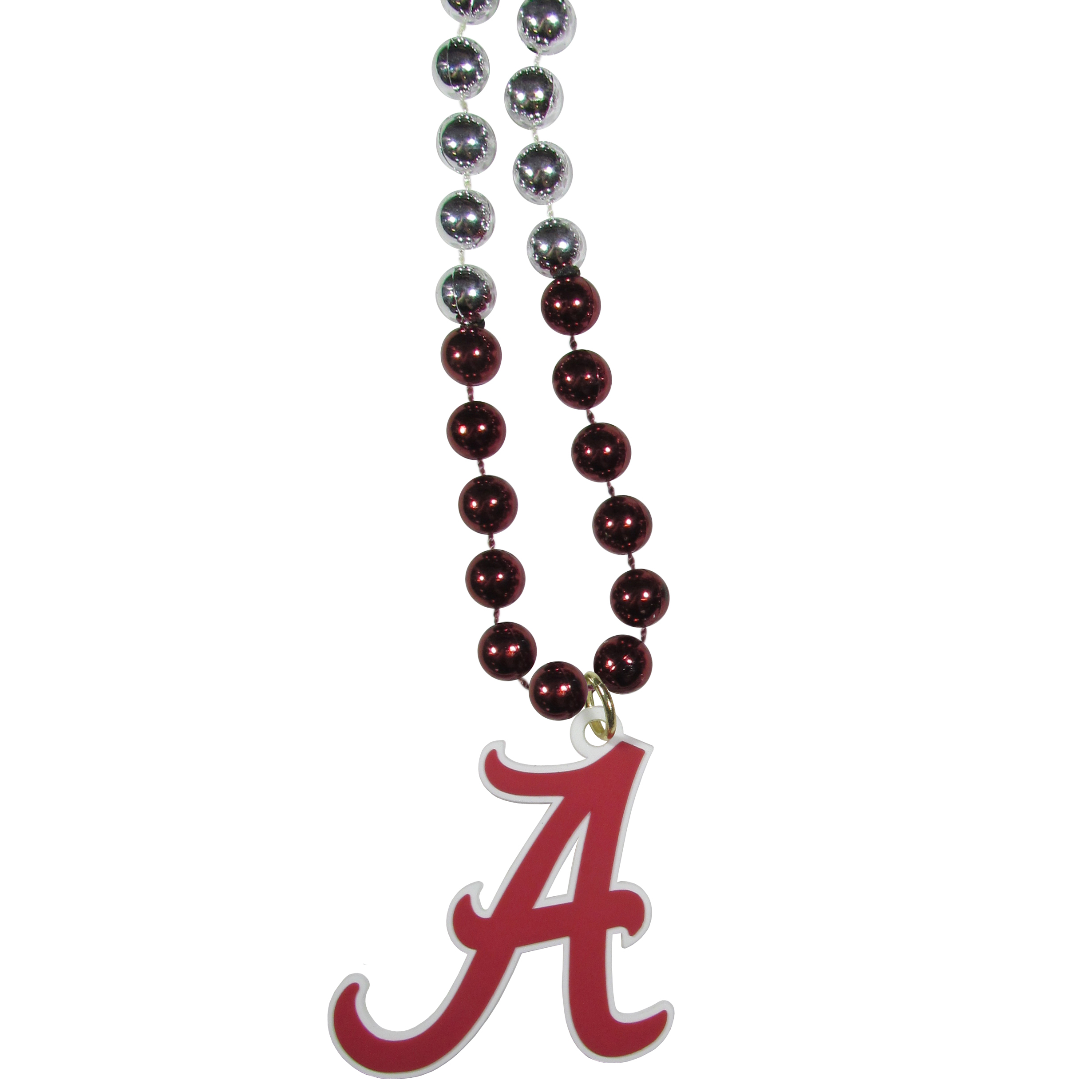 Alabama Crimson Tide Mardi Gras Necklace - Get the party started with this Mardi Gras inspired bead necklace. The flashy beads have a shiny finish and come in bright team colors strung together on a 36 inch string so you can make a big statement on game day! The beads come with an extra large flexible team logo that is a full 3 inches at its widest point. This trendy and bold necklace screams out your Alabama Crimson Tide pride and is a must have at game time!