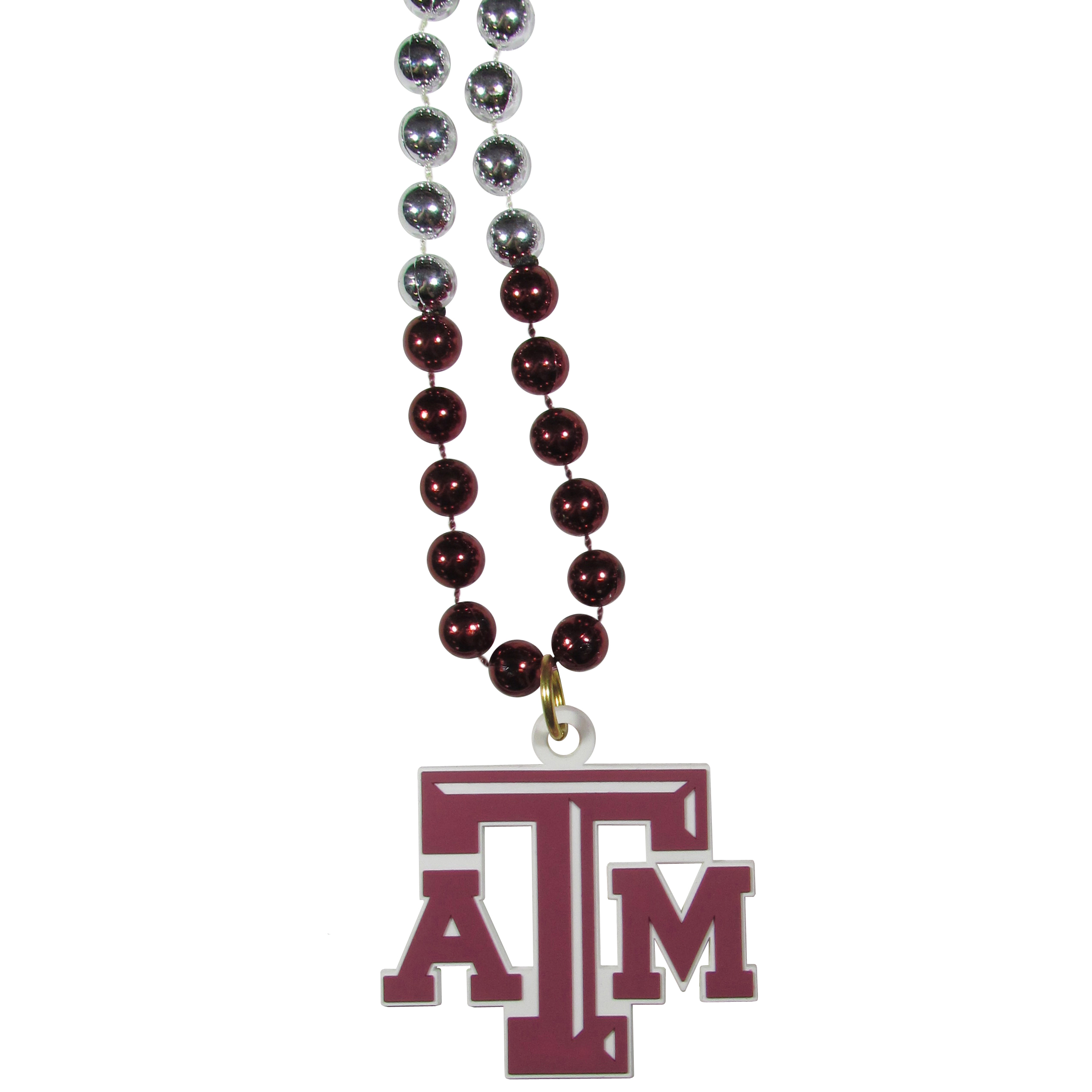 Texas A and M Aggies Mardi Gras Necklace - Get the party started with this Mardi Gras inspired bead necklace. The flashy beads have a shiny finish and come in bright team colors strung together on a 36 inch string so you can make a big statement on game day! The beads come with an extra large flexible team logo that is a full 3 inches at its widest point. This trendy and bold necklace screams out your Texas A & M Aggies pride and is a must have at game time!