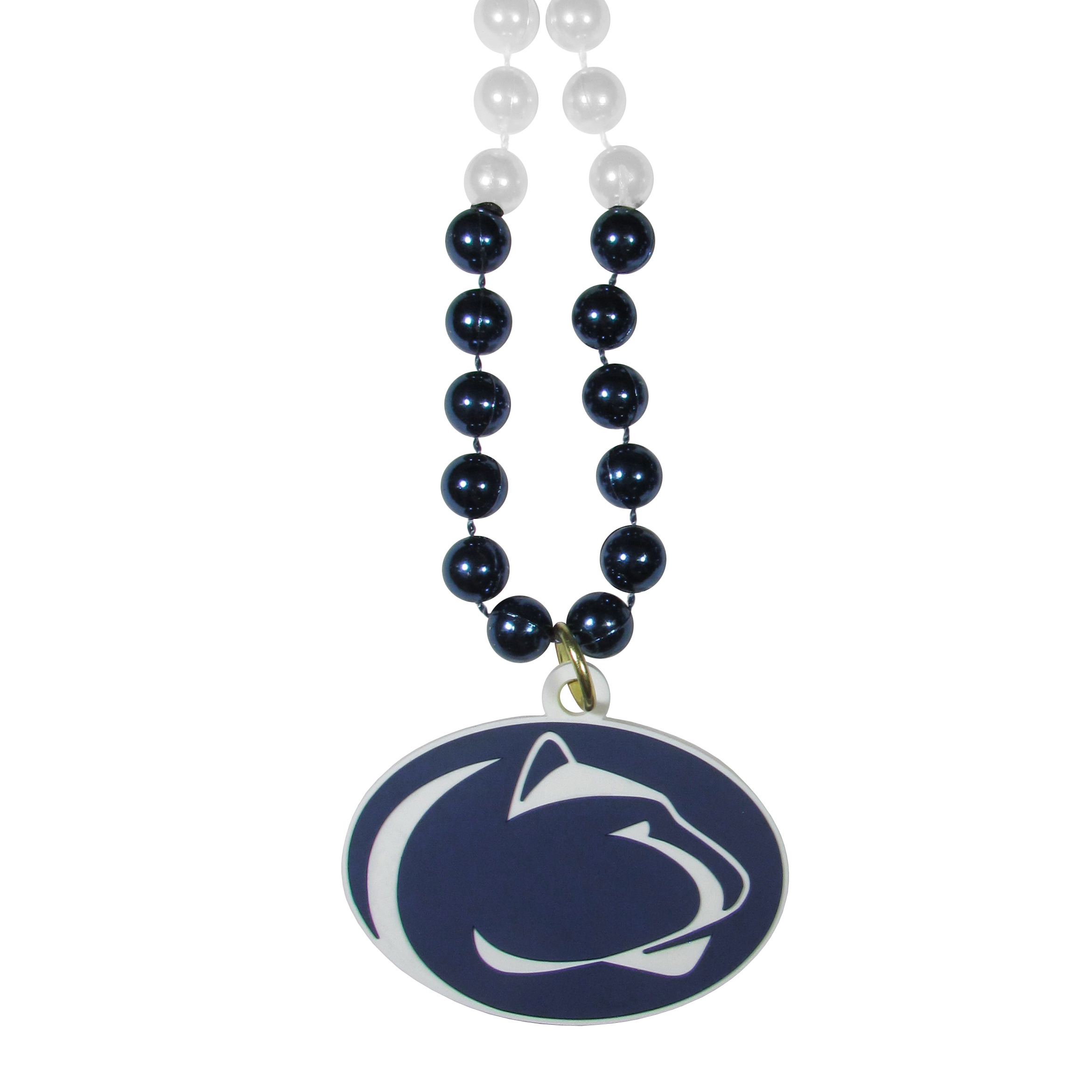Penn St. Nittany Lions Mardi Gras Necklace - Get the party started with this Mardi Gras inspired bead necklace. The flashy beads have a shiny finish and come in bright team colors strung together on a 36 inch string so you can make a big statement on game day! The beads come with an extra large flexible team logo that is a full 3 inches at its widest point. This trendy and bold necklace screams out your Penn St. Nittany Lions pride and is a must have at game time!
