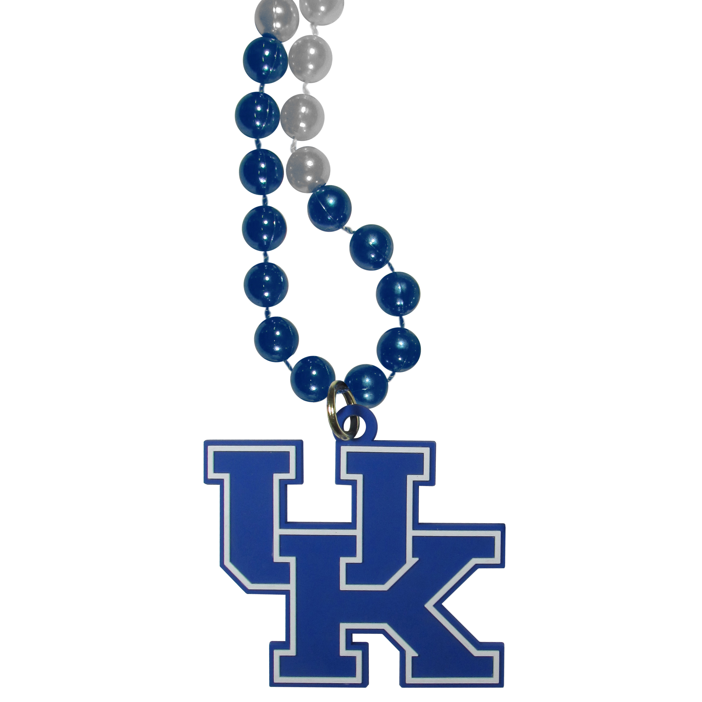Kentucky Wildcats Mardi Gras Necklace - Get the party started with this Mardi Gras inspired bead necklace. The flashy beads have a shiny finish and come in bright team colors strung together on a 36 inch string so you can make a big statement on game day! The beads come with an extra large flexible team logo that is a full 3 inches at its widest point. This trendy and bold necklace screams out your Kentucky Wildcats pride and is a must have at game time!