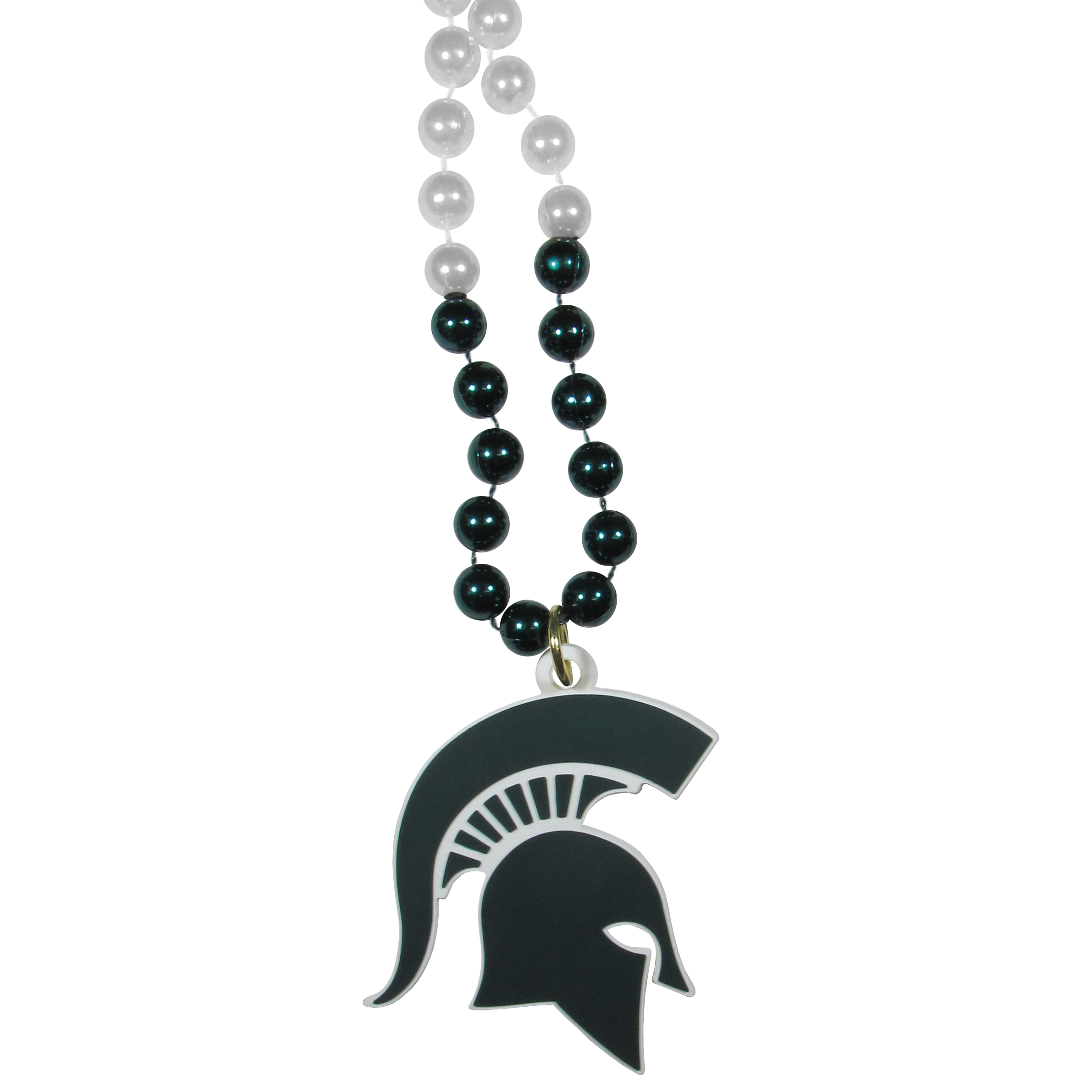 Michigan St. Spartans Mardi Gras Necklace - Get the party started with this Mardi Gras inspired bead necklace. The flashy beads have a shiny finish and come in bright team colors strung together on a 36 inch string so you can make a big statement on game day! The beads come with an extra large flexible team logo that is a full 3 inches at its widest point. This trendy and bold necklace screams out your Michigan St. Spartans pride and is a must have at game time!