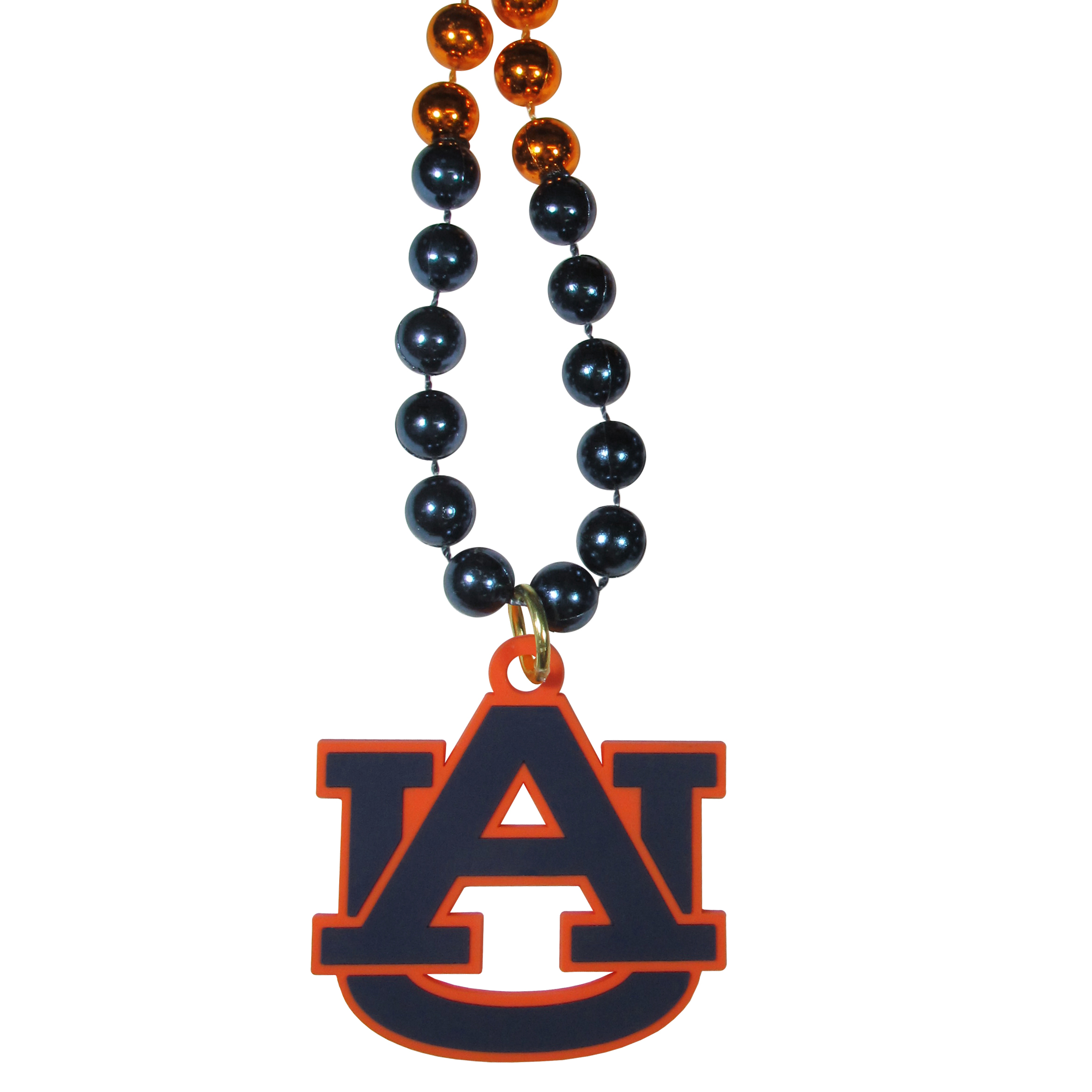 Auburn Tigers Mardi Gras Necklace - Get the party started with this Mardi Gras inspired bead necklace. The flashy beads have a shiny finish and come in bright team colors strung together on a 36 inch string so you can make a big statement on game day! The beads come with an extra large flexible team logo that is a full 3 inches at its widest point. This trendy and bold necklace screams out your Auburn Tigers pride and is a must have at game time!