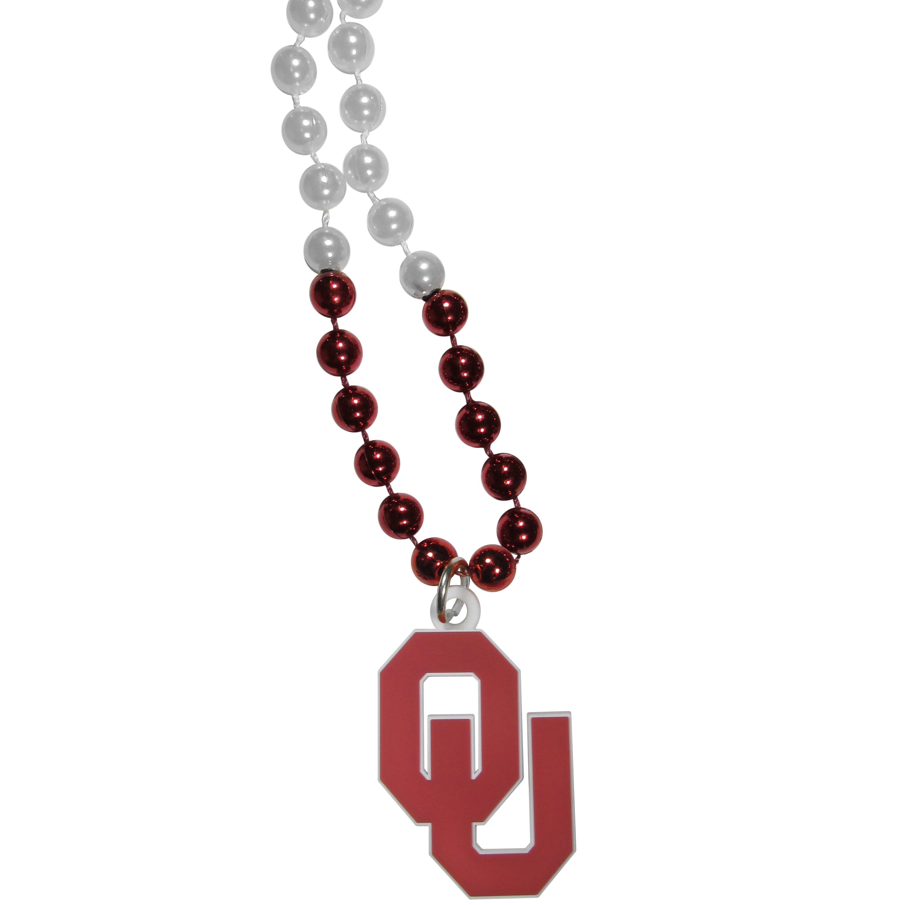 Oklahoma Sooners Mardi Gras Necklace - Get the party started with this Mardi Gras inspired bead necklace. The flashy beads have a shiny finish and come in bright team colors strung together on a 36 inch string so you can make a big statement on game day! The beads come with an extra large flexible team logo that is a full 3 inches at its widest point. This trendy and bold necklace screams out your Oklahoma Sooners pride and is a must have at game time!