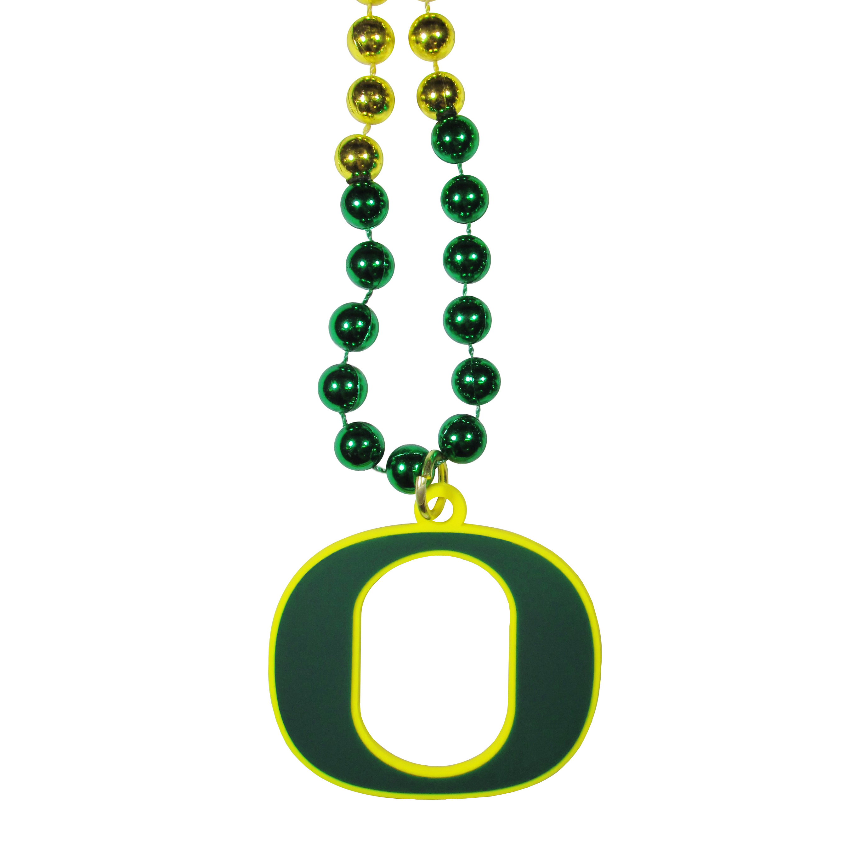 Oregon Ducks Mardi Gras Necklace - Get the party started with this Mardi Gras inspired bead necklace. The flashy beads have a shiny finish and come in bright team colors strung together on a 36 inch string so you can make a big statement on game day! The beads come with an extra large flexible team logo that is a full 3 inches at its widest point. This trendy and bold necklace screams out your Oregon Ducks pride and is a must have at game time!