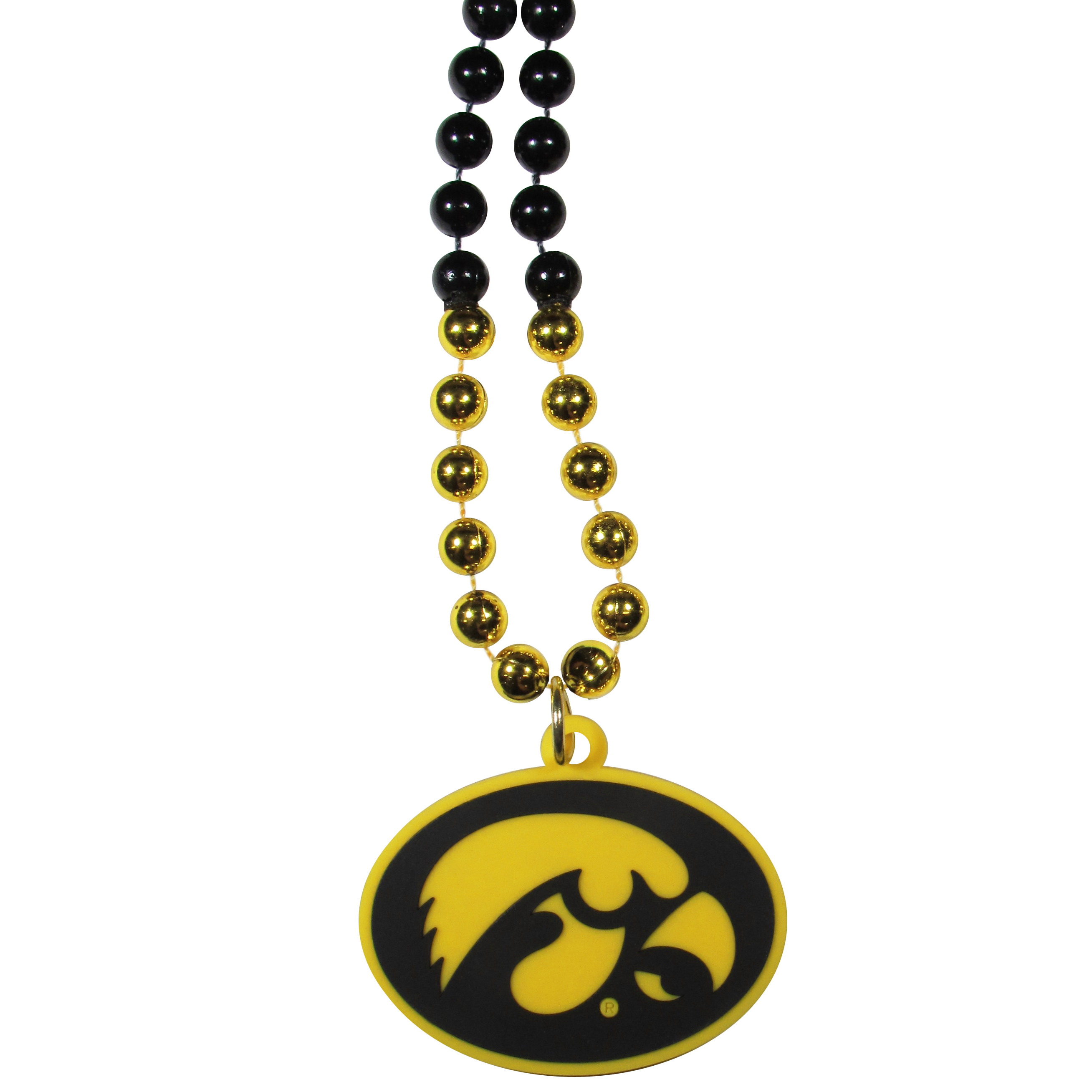 Iowa Hawkeyes Mardi Gras Necklace - Get the party started with this Mardi Gras inspired bead necklace. The flashy beads have a shiny finish and come in bright team colors strung together on a 36 inch string so you can make a big statement on game day! The beads come with an extra large flexible team logo that is a full 3 inches at its widest point. This trendy and bold necklace screams out your Iowa Hawkeyes pride and is a must have at game time!