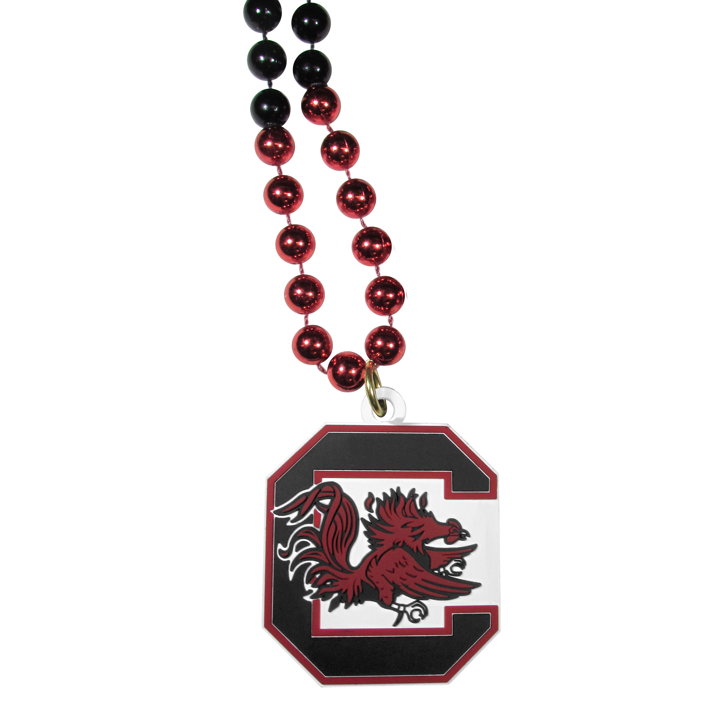 S. Carolina Gamecocks Mardi Gras Necklace - Get the party started with this Mardi Gras inspired bead necklace. The flashy beads have a shiny finish and come in bright team colors strung together on a 36 inch string so you can make a big statement on game day! The beads come with an extra large flexible team logo that is a full 3 inches at its widest point. This trendy and bold necklace screams out your S. Carolina Gamecocks pride and is a must have at game time!