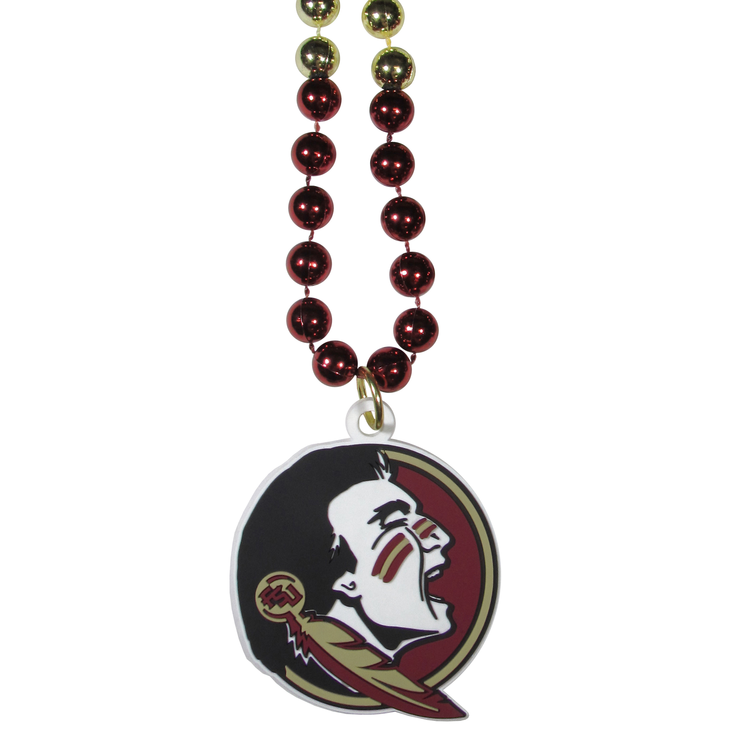 Florida St. Seminoles Mardi Gras Necklace - Get the party started with this Mardi Gras inspired bead necklace. The flashy beads have a shiny finish and come in bright team colors strung together on a 36 inch string so you can make a big statement on game day! The beads come with an extra large flexible team logo that is a full 3 inches at its widest point. This trendy and bold necklace screams out your Florida St. Seminoles pride and is a must have at game time!