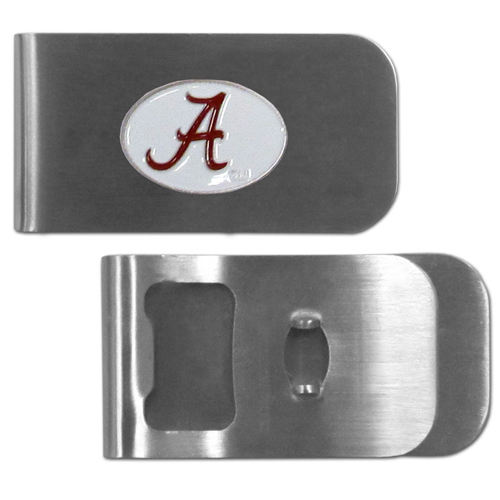 Alabama Crimson Tide Bottle Opener Money Clip - ThisAlabama Crimson Tide unique money clip is made of heavy duty steel and has a functional bottle opener on the back. The money clip features a team emblem with enameled team colors. Makes a great gift! Thank you for shopping with CrazedOutSports.com