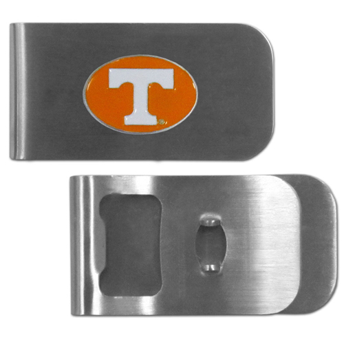Tennessee Volunteers Bottle Opener Money Clip - These unique money clip is made of heavy duty steel and has a functional bottle opener on the back. The money clip features a team emblem with enameled team colors. Makes a great gift! Thank you for shopping with CrazedOutSports.com
