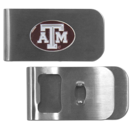 Texas A and M Aggies Bottle Opener Money Clip - These unique money clip is made of heavy duty steel and has a functional bottle opener on the back. The money clip features a team emblem with enameled team colors. Makes a great gift! Thank you for shopping with CrazedOutSports.com