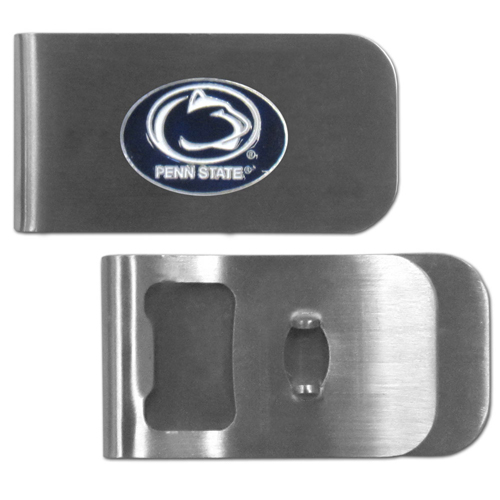 Penn St. Nittany Lions Bottle Opener Money Clip - These unique money clip is made of heavy duty steel and has a functional bottle opener on the back. The money clip features a team emblem with enameled team colors. Makes a great gift! Thank you for shopping with CrazedOutSports.com