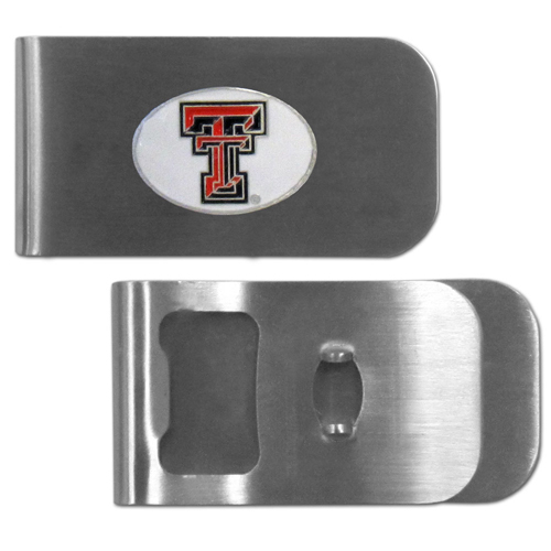 Texas Tech Raiders Bottle Opener Money Clip - These unique money clip is made of heavy duty steel and has a functional bottle opener on the back. The money clip features a team emblem with enameled team colors. Makes a great gift! Thank you for shopping with CrazedOutSports.com