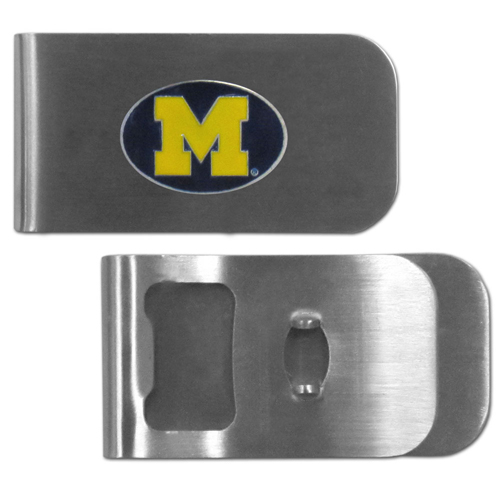 Michigan Wolverines Bottle Opener Money Clip - These unique Michigan Wolverines Bottle Opener Money Clip is made of heavy duty steel and has a functional bottle opener on the back. The Michigan Wolverines Bottle Opener Money Clip features a team emblem with enameled team colors. Michigan Wolverines Bottle Opener Money Clip makes a great gift! Thank you for shopping with CrazedOutSports.com