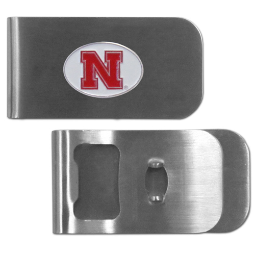Nebraska Cornhuskers Bottle Opener Money Clip - These unique money clip is made of heavy duty steel and has a functional bottle opener on the back. The money clip features a team emblem with enameled team colors. Makes a great gift! Thank you for shopping with CrazedOutSports.com