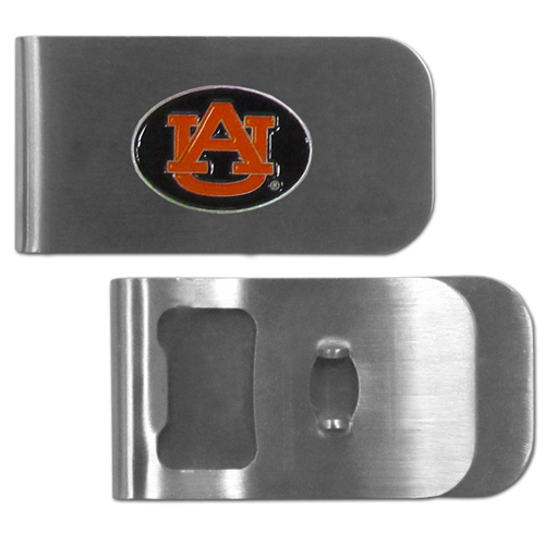 Auburn Tigers Bottle Opener Money Clip - These unique money clip is made of heavy duty steel and has a functional bottle opener on the back. The money clip features a team emblem with enameled Auburn Tigers colors. Makes a great gift! Thank you for shopping with CrazedOutSports.com