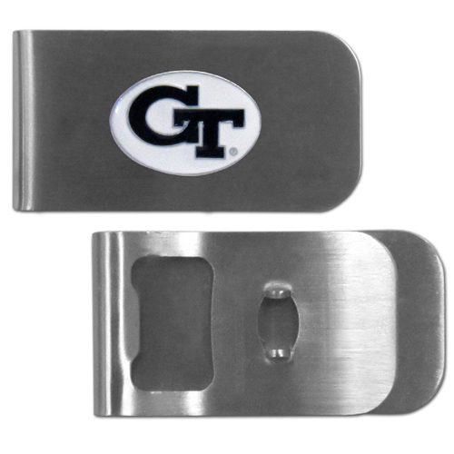 Georgia Tech Yellow Jackets Bottle Opener Money Clip - This Georgia Tech Yellow Jackets unique money clip is made of heavy duty steel and has a functional bottle opener on the back. The money clip features a team emblem with enameled team colors. Makes a great gift! Thank you for shopping with CrazedOutSports.com