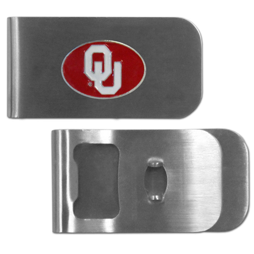 Oklahoma Sooners Bottle Opener Money Clip - These unique money clip is made of heavy duty steel and has a functional bottle opener on the back. The money clip features a team emblem with enameled team colors. Makes a great gift! Thank you for shopping with CrazedOutSports.com