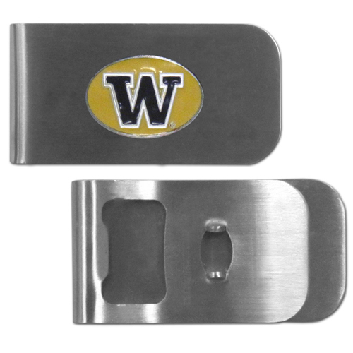 Washington Huskies Bottle Opener Money Clip - These unique money clip is made of heavy duty steel and has a functional bottle opener on the back. The money clip features a team emblem with enameled team colors. Makes a great gift! Thank you for shopping with CrazedOutSports.com