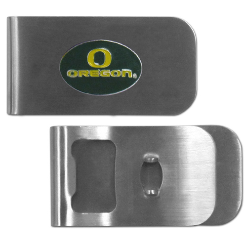 Oregon Ducks Bottle Opener Money Clip - These unique money clip is made of heavy duty steel and has a functional bottle opener on the back. The money clip features a team emblem with enameled team colors. Makes a great gift! Thank you for shopping with CrazedOutSports.com