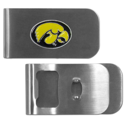 Iowa Hawkeyes Bottle Opener Money Clip - This unique Iowa Hawkeyes money clip is made of heavy duty steel and has a functional bottle opener on the back. The money clip features a team emblem with enameled team colors. Makes a great gift! Thank you for shopping with CrazedOutSports.com