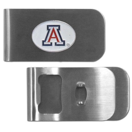 Arizona Wildcats Bottle Opener Money Clip - These unique money clip is made of heavy duty steel and has a functional bottle opener on the back. The money clip features a Arizona Wildcats team emblem with enameled team colors. Makes a great gift! Thank you for shopping with CrazedOutSports.com