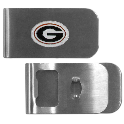 Georgia Bulldogs Bottle Opener Money Clip - This Georgia Bulldogs unique money clip is made of heavy duty steel and has a functional bottle opener on the back. The money clip features a team emblem with enameled team colors. Makes a great gift! Thank you for shopping with CrazedOutSports.com