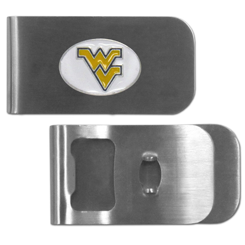 W. Virginia Mountaineers Bottle Opener Money Clip - These unique money clip is made of heavy duty steel and has a functional bottle opener on the back. The money clip features a team emblem with enameled team colors. Makes a great gift! Thank you for shopping with CrazedOutSports.com