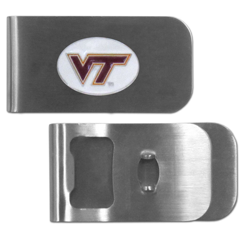 Virginia Tech Hokies Bottle Opener Money Clip - These unique money clip is made of heavy duty steel and has a functional bottle opener on the back. The money clip features a team emblem with enameled team colors. Makes a great gift! Thank you for shopping with CrazedOutSports.com