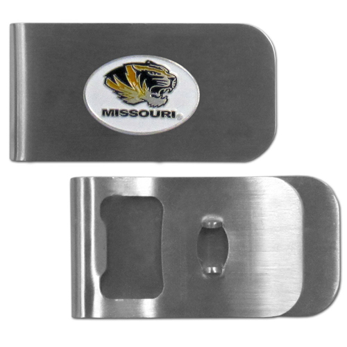 Missouri Tigers Bottle Opener Money Clip - These unique money clip is made of heavy duty steel and has a functional bottle opener on the back. The money clip features a team emblem with enameled team colors. Makes a great gift! Thank you for shopping with CrazedOutSports.com