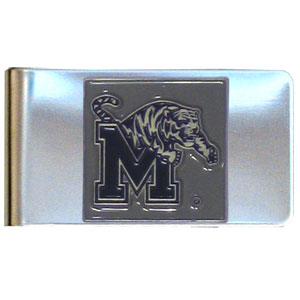 Memphis Tigers Stainless Steel Money Clip - This Memphis Tigers stainless steel money clip has classic style and Memphis Tigers team pride wrapped up in a beautiful package. The attractive Memphis Tigers Stainless Steel Money Clip features a metal Memphis Tigers emblem with expertly enameled detail. Thank you for shopping with CrazedOutSports.com.
