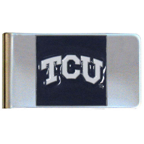 TCU Steel Money Clip - Put your team spirit where your money is with this large metal college money clip. Hand painted 3D emblem in school colors. Check out our extensive line of  licensed sports merchandise! Thank you for shopping with CrazedOutSports.com