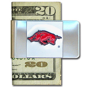 College Large Money Clip - Arkansas Razorbacks - Put your Arkansas Razorbacks team spirit where your money is with this large metal college money clip. Hand painted 3D emblem in school colors. Check out our extensive line of  licensed sports merchandise! Thank you for shopping with CrazedOutSports.com