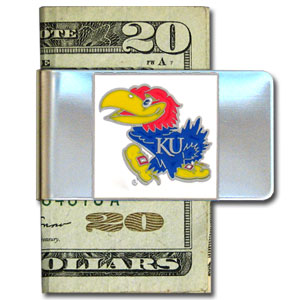 College Large Money Clip - Kansas Jayhawks - Put your team spirit where your money is with this large metal Kansas Jayhawks college money clip. Hand painted 3D emblem in school colors. Check out our extensive line of  licensed sports merchandise! Thank you for shopping with CrazedOutSports.com
